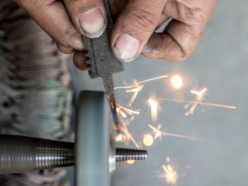 finishing the Damascus steel sgian dubh blade