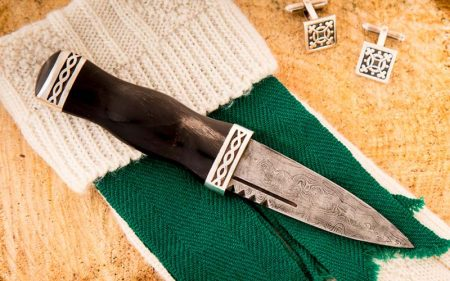 damascus sgian dubh with kilt sock